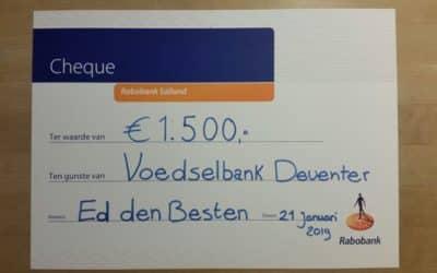 Een cheque van 1500 euro!